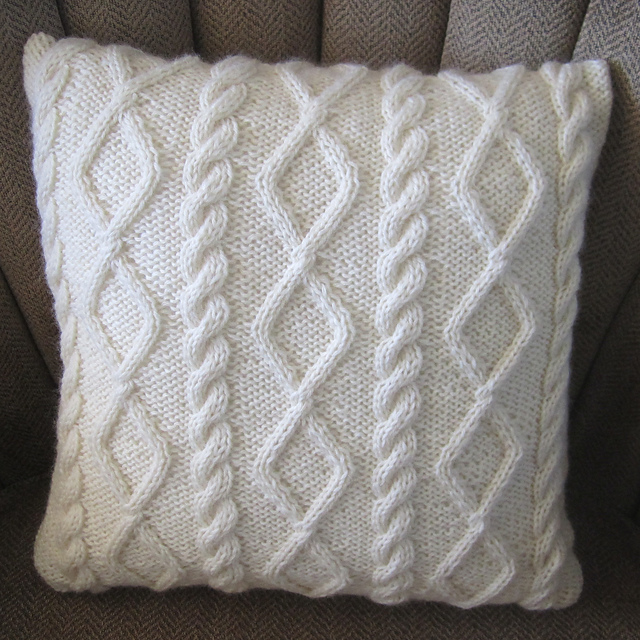 Ravelry Diamonds And Cable Pillow Cover Pattern By Jennifer Wilby