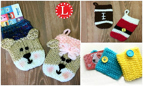 Knitted christmas gift card holders