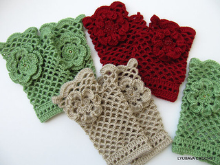 Ravelry Fingerless Gloves With Flower Tutorial Pattern By Lyubava