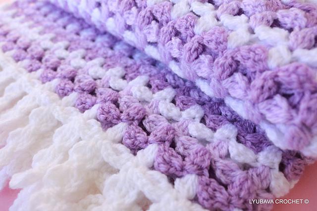Ravelry lyubava crochet designs patterns lilac mosaic baby blanket with decorative fringe by lyubava crochet dt1010fo