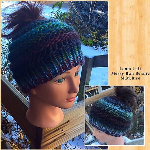 Ravelry Loom Knit Messy Bun Beanie Pattern By Malissa Mse