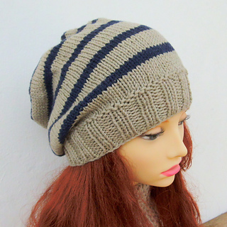 Knit Beanie Pattern Ravelry : Ravelry: CAMPUS Striped Slouchy Beanie Knit Round pattern by Made on Location