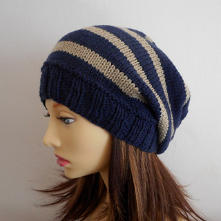 Ravelry: CAMPUS Striped Slouchy Beanie Knit Round pattern ...