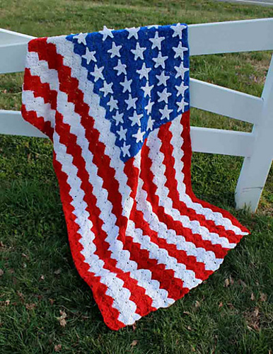 Ravelry Catherine Wheel Stitch American Flag Afghan Pattern By