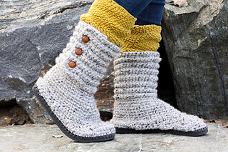 0407f2e99 Ravelry  Cabin Boots with Flip Flop Soles pattern by Jess Coppom