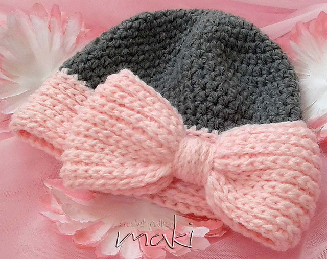 Ravelry BIG BOW Baby Hat Pattern By MakiCrochet Stunning Baby Hat Crochet Pattern