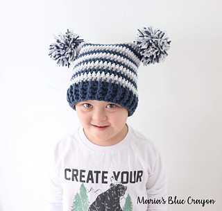 b6af76524b2 Ravelry  Double Pom Pom Hat pattern by Maria s Blue Crayon