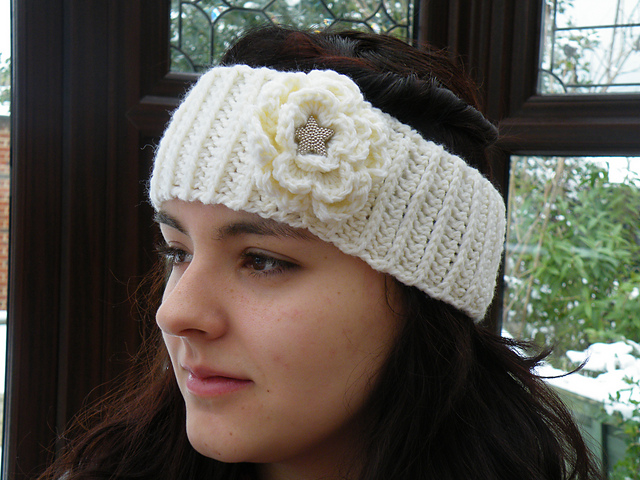 Crochet Wide Headband With Flower Free Pattern : Craft Passions: Wide HeadBand..# free #crochet pattern ...