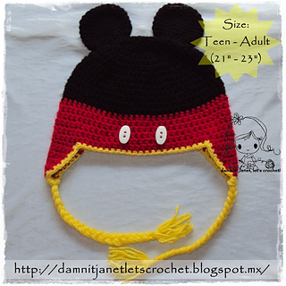 Ravelry  Mickey Mouse Beanie with Earflaps pattern by Janet Carrillo e16873b0e77