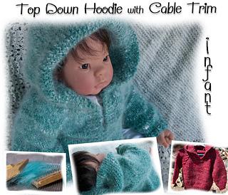 868b2742d9aac1 Ravelry  Top Down Hoodie with Cable Trim pattern by Nancy Elizabeth Munroe