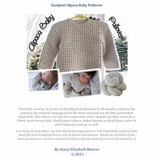 402411b4a38d75 Ravelry  Alpaca Baby Pullover pattern by Nancy Elizabeth Munroe