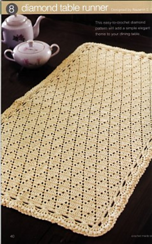 Ravelry Diamond Table Runner Pattern By Nazanin S Fard Adorable Crochet Table Runner Patterns
