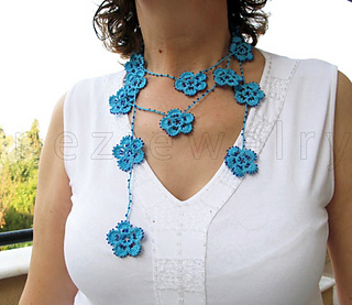 Ravelry Beaded Crochet Flower Lariat Necklace Scarf