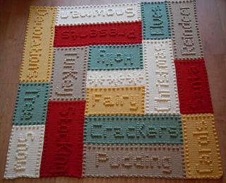 Ravelry Christmas Word Motifs Lap Blanket Pattern By Peach Unicorn