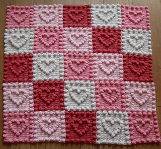 Heart Motifs Baby Blanket pattern by Peach  Unicorn