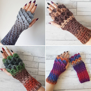 Ravelry Dragon Scale Fingerless Gloves Pattern By The Yarnivore Uk