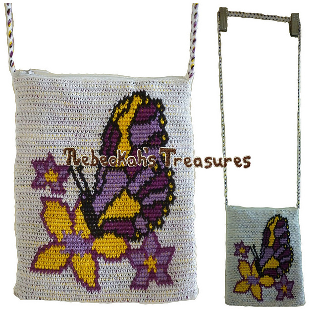 Ravelry: Butterfly Kiss Tapestry Crochet Shoulder Bag pattern by ...