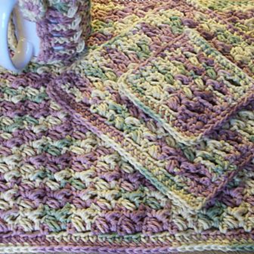 Ravelry Puff Stitch Placemat Dishcloth And Coaster Set Pattern By