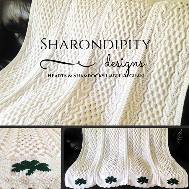 Ravelry Hearts Shamrocks Cable Afghan Pattern By Sharondipity Designs