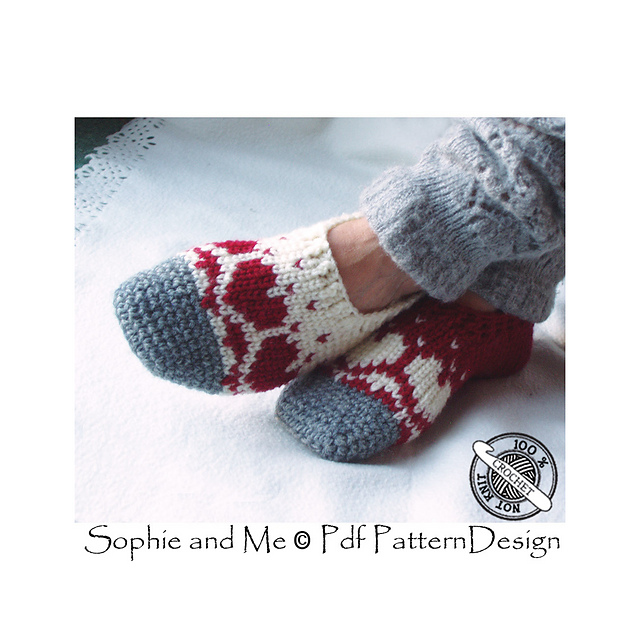 19415fcd464ea Snow Heart Slippers pattern by Sophie and Me-Ingunn Santini