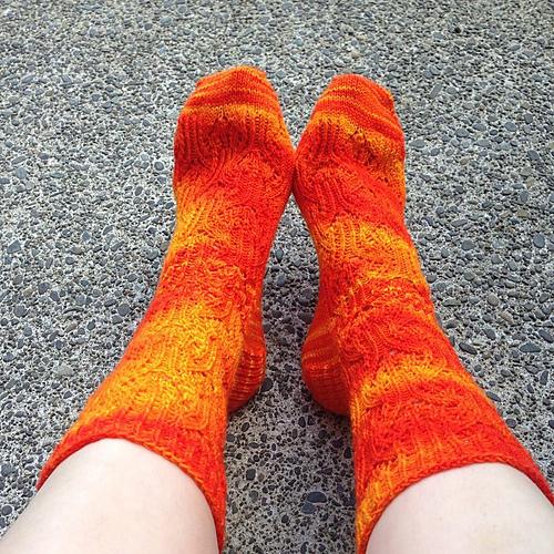 Rosebud socks knit in wollmeise