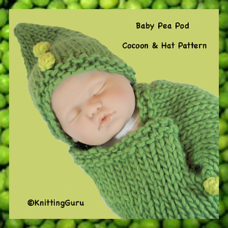 Ravelry Green Pea Pod Baby Cocoon And Hat Pattern By
