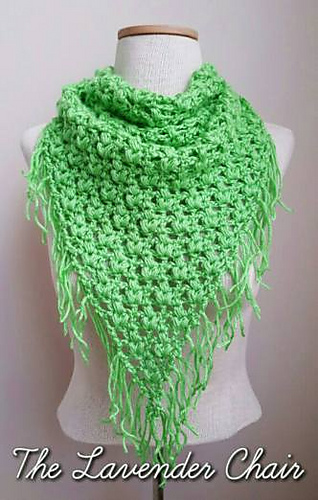 Ravelry Clover Puff Triangle Scarf Pattern By Dorianna Rivelli