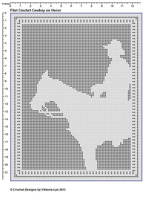 Ravelry Filet Crochet Pattern Cowboy On Horse Now With Row By Row