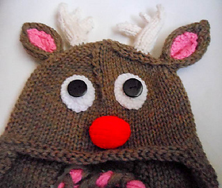 1a29f35dab9da Ravelry  Rudolph Reindeer Hat knit pattern by Wistfully Woolen