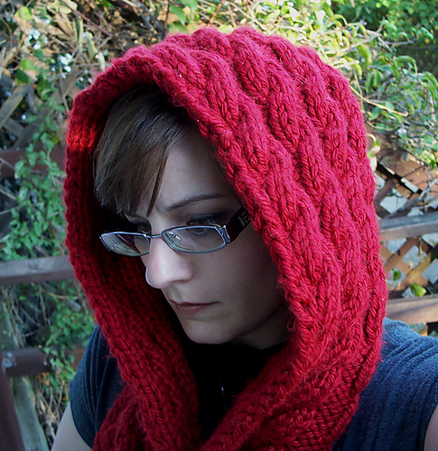 Ravelry Cascading Cables Hooded Scarf Pattern By Wren Couture