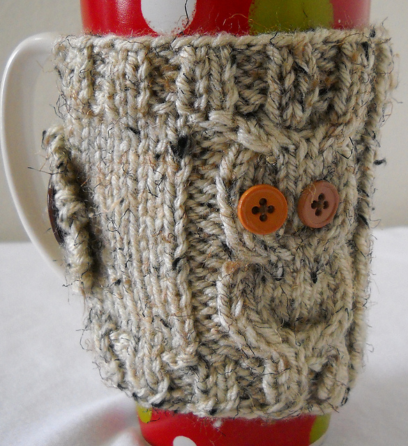 Owl Coffee Mug Cozy pattern by Crystal Lybrink