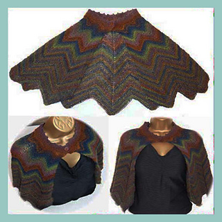 Darcy Vintage Style Chevron Cape Shrug Shawl 4ply Sock Yarn Knitting Pattern
