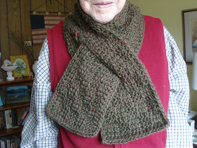 Ravelry Checkered Tunisian Keyhole Scarf Pattern By Ana Tole