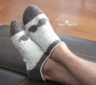51f3f1488 Ravelry  Mustache Slipper Socks for Men pattern by Sarah Zimmerman