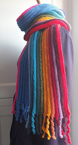 Bright multi-colored knitted scarf with fringe inspired by Dr. Who.