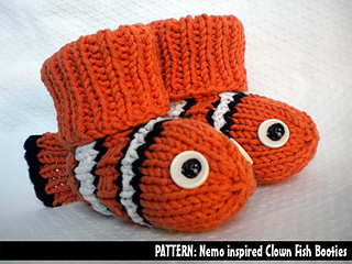 Ravelry Nemo The Clown Fish Booties Pattern By Aunt Janet
