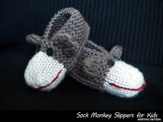 Ravelry Sock Monkey Slippers For Kids Pattern By Aunt Janets Designs
