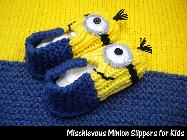 Ravelry Mischievous Minion Slippers For Kids Pattern By Aunt