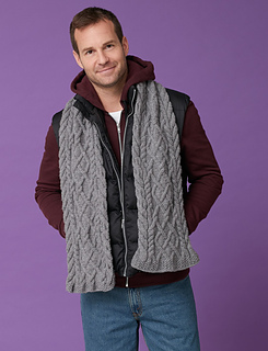 Ravelry Men S Cabled Scarf Pattern By Caron Design Team