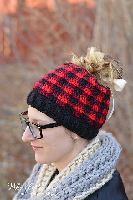 Ravelry: Messy Bun Plaid Hat pattern by Bethany Dearden