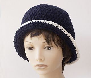 edc941cb4eb0a Ravelry  Two Color Flapper Cloche Hat pattern by Judy Stalus