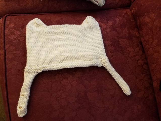 White  knit hat with ears