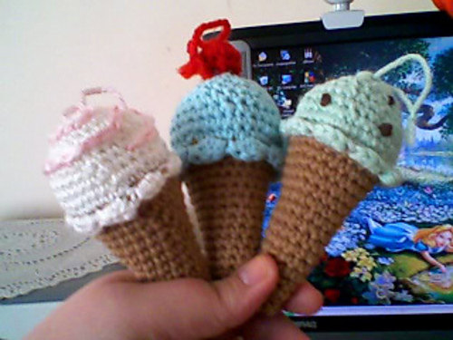 Ravelry Crocheted Ice Cream Cones Pattern By Melia Kobe