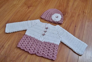 57b91e3ba Ravelry  Button Me Up Baby Sweater   Hat pattern by Carlinda Lewis