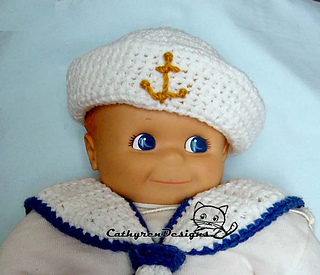 2011960a847 Ravelry Baby Sailor Hat And Collar Set Pattern By Cathy Ren