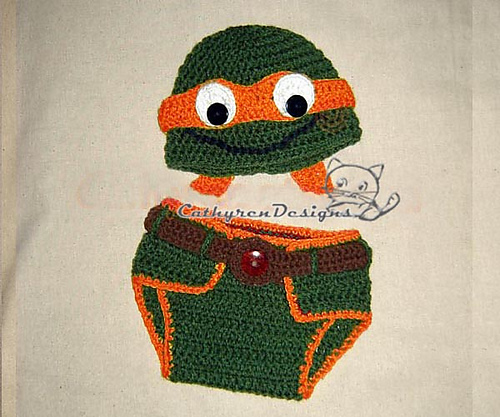 Ravelry: Baby NinJa Turtle Hat and Diaper Cover Set pattern by Cathy Ren