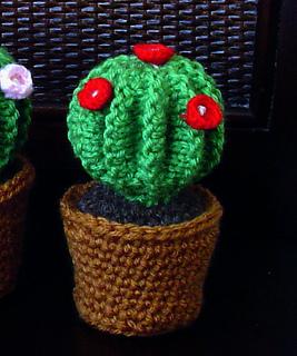 Ravelry Barrel Cactus In Crochet Pot Pincushion Pattern