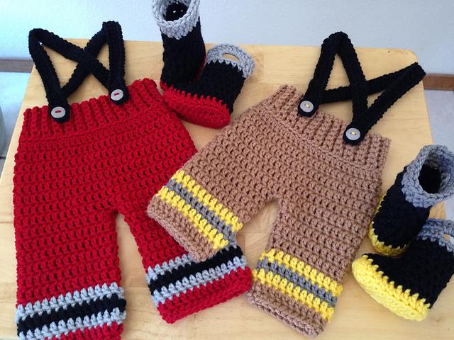 Ravelry Baby Firefighterfireman Pants Suspenders Boots Pattern