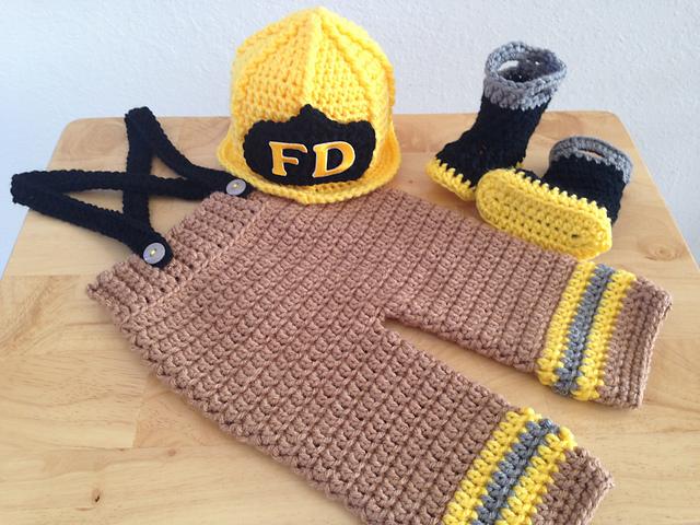Ravelry Baby Firefighterfireman Hat Pants Suspenders Boots 6