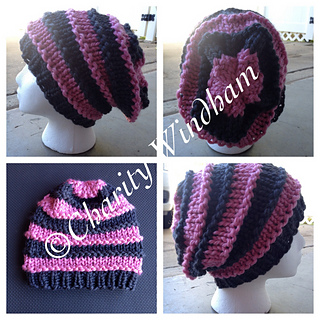Ravelry bulky striped slouchy hat pattern by charity windham dt1010fo